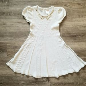 Gymboree ivory dress for little girl, size 5yrs;